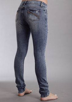 Stetson Womens Blue Cotton Blend Pixie Stix Cream Scroll Skinny Jeans