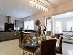 photo of open plan beige white glossy with lighting lighting track
