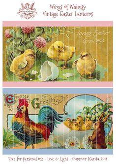 Wings rozmar: hobby Ročník Velikonoční lucerny - zdarma pro osobní použití #vintage #ephemera #printable #freebie #easter