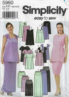 Maternity Pattern for Formal Evening Wear, Skirt and Top Size UNCUT Simplicity 5960 Maternity Sewing Patterns, Sewing Patterns For Kids, Simplicity Sewing Patterns, Maternity Skirt, Maternity Tops, Bodice, Formal, Dress Making, Size 14
