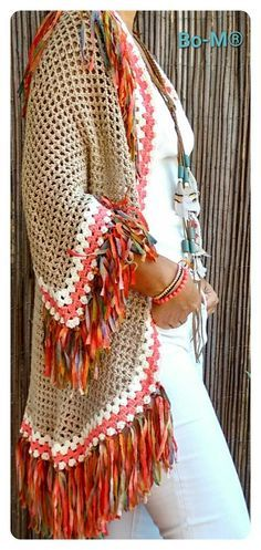 Digging these colors Crochet Jumper, Crochet Coat, Crochet Jacket, Crochet Trim, Love Crochet, Beautiful Crochet, Crochet Shawl, Crochet Clothes, Crochet Scarves