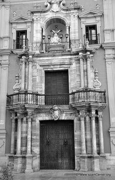 Palacio Episcopal, fachada principal en la plaza del Obispo. Málaga, Spain.