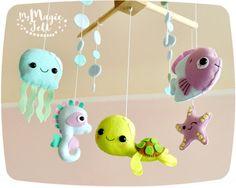 Baby mobile ocean Crib mobile Under sea Baby mobiles sea horse Nursery mobile…