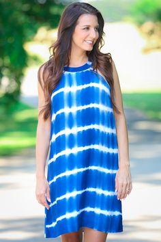 Rip Tide Blue Tie-Dye Dress at reddressboutique.com