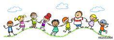 Kinder halten Hände in der Natur