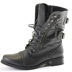 shoeFashionista Womens Ladies Military Style Army Combat Lace up Flat... (260.250 IDR) ❤ liked on Polyvore featuring shoes, boots, ankle booties, army combat boots, military combat boots, lace up booties, lace up flat booties and low heel booties