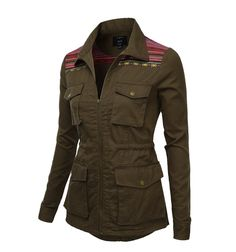 Womens Trendy Military Jacket Olive