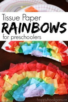 Tissue Paper and Paper Plate Rainbows for Preschoolers - great fine motor craft for St. Also great for a spring craft or for a Letter R craft in Preschool - Happy Hooligans by sybil Preschool Letters, Preschool Crafts, Easter Crafts, Preschool Ideas, Preschool Colors, Preschool Bible, Preschool Curriculum, Kindergarten Art, Daycare Ideas