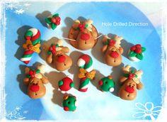 Navidad Rudolph polímero arcilla Scapbooking por RainbowDayHappy