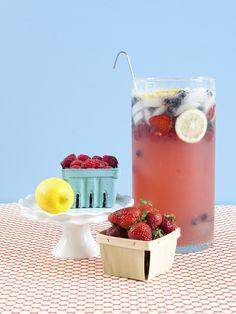 Party Lemonade...  2 liter Sprite  1 can frozen lemonade  3 cans water  1 pkg kool-aid lemonade  1c sugar  fresh berries  lemon slices  lots of ice