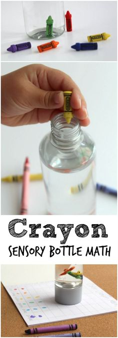Crayon Math Game with Sensory Bottle for Kids. A fun math idea for Back to School Theme with your Preschooler or Kindergartner.