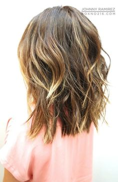 mid length bob with texture and highlights: