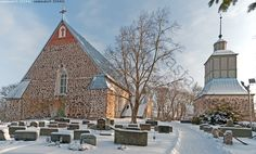 Parainen Church was dedicated to St. Simon, and was built in the beginning of the century. Grave Monuments, Graveyards, Place Of Worship, Old Buildings, 14th Century, Helsinki, Finland, Madonna, Cathedral