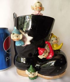 Vintage CHRISTMAS VASE~ Large SANTA BOOT w/ 5 PIXIES ELVES~Handpainted Porcelain