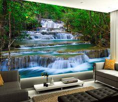 Murales tombe dans la forêt Photo papier peint géant vert Mur Art Cascade