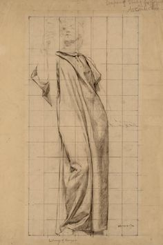 Drapery study for figure of Botany, ca. 1895, by Kenyon Cox