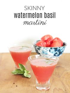 Skinny Watermelon-Basil Martini Under 100 Calories. Perfect summer cocktail!