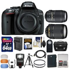 Nikon D5300 Digital SLR Camera Body (Black) with 18-140mm VR & 55-300mm VR Zoom Lens + 64GB Card + Case + Flash Kit. KIT INCLUDES 17 PRODUCTS -- All BRAND NEW Items with all Manufacturer-supplied Accessories + Full USA Warranties:. [1] Nikon D5300 Digital SLR Camera Body (Black) + [2] Nikon 18-140mm VR DX AF-S Lens + [3] Nikon 55-300mm VR DX AF-S Lens + [4] Nikon Digital SLR Camera Case +. [5] Spare EN-EL14 Battery + [6] Battery Charger + [7] Precision Design DSLR300 Flash + [8] Transcend...