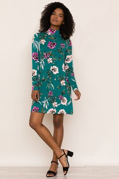 Molli Jersey Dress by Yumi Kim Emerald Color, Fall Collections, Autumn Winter Fashion, Nice Dresses, High Neck Dress, Turtle Neck, Chic, Long Sleeve, Casual