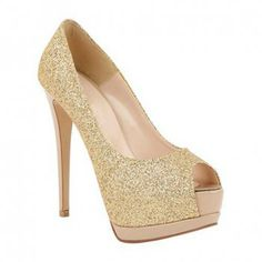 Gold Peep Toe Pumps