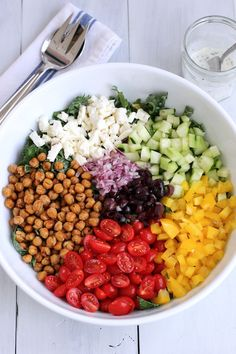 Chopped salad with roasted chickpeas