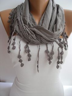 """Love the whole """"scarf as necklace"""" idea.  Brown Elegance Shawl/Scarf with Lacy Edge by DIDUCI on Etsy, $19.00"""