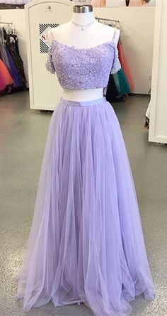 2018 prom dress, two piece prom dress, long prom dress, lavender prom dress, straps party dress