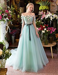 Formal Evening Dress-Sky Blue Ball Gown Off-the-shoulder Court Train Lace / Tulle 4990730 2016 – $269.99