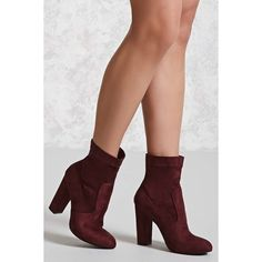 Forever21 Yoki Faux Suede Boots (Wide) ($27) ❤ liked on Polyvore featuring shoes, boots, ankle booties, ankle boots, burgundy, forever 21 booties, high heel boots, wide width booties and stacked heel booties