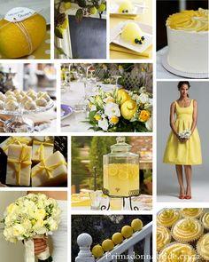 decorating w/ lemons, wrapped lemon or honey soap favors, chalkboard for entrance