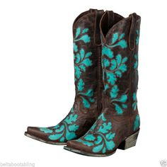 Lane Damask Turquoise Cowgirl Boots Brown Turquoise  #Lane #CowboyWestern