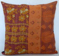 "24"" Indian Handmade Cotton Kantha Vintage Cushion Pillow Cover Throw Decor Home   eBay"
