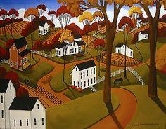 SOLD!! $199.00 O.B.O. Original Painting Folk Art Landscape Autumn Fall Horses Country Countryside Hill | eBay