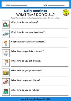 An ESL Worksheet to teach daily routines to kids and beginner English language learners. Students should read the question and write the answer using English vocabulary and expressions about their daily routine. English Grammar For Kids, Learning English For Kids, English Lessons For Kids, Learn English Words, English Vocabulary, Games In English, English For Beginners, Daily Routine Worksheet, Daily Routine Activities