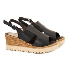 Sandale dama din piele naturala neagra cu platforma 2188