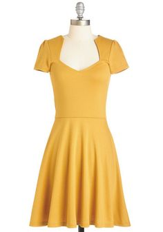 Ooh La La Lady Dress in Sunflower. Well look at you, feeling fabulous and fashionable in your new golden-yellow frock! #gold #prom #modcloth
