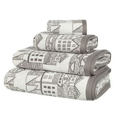 Buy John Lewis Coastal Nordic Scene Towels, Slate Online at johnlewis.com