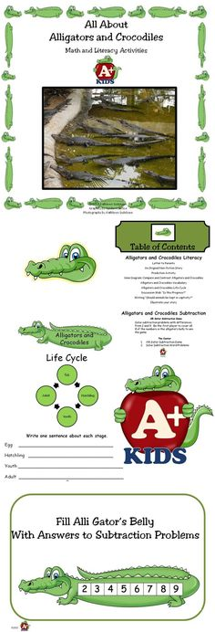 """$ LITERACY This mini-unit contains an original, four page, non-fiction story about alligators and crocodiles and how they live. Scaffolding activities are provided to increase reading comprehension.  MATH Students find the answers to subtraction facts with differences from 2 to 9 while playing the """"Alli Gator Subtraction Game."""""""
