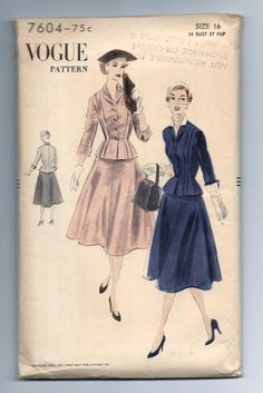 Vintage Vogue 7604 Fitted Jacket with Full Flared by RomasMaison, $28.00