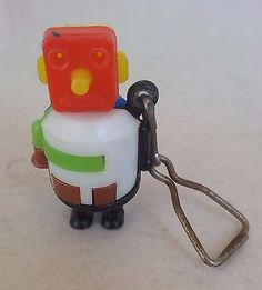 Vintage Robot Gumball Machine Prize Plastic Toy Keychain Key Ring Puzzle 1960's
