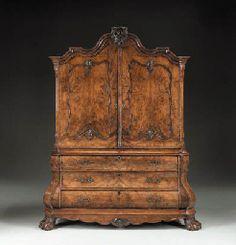 "Early 19th century Dutch Rococo Burr Walnut Armoire - 94"" H x 73"" W"