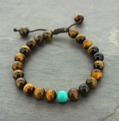 Tiger Eye with tourquise Wrist Mala with Turquoise Spacer