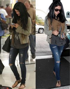 Selena Gomez wore the American Eagle Jegging in Dark Destroyed at LAX airport on September 13, 2012.    Get her look: http://on.ae.com/Uv3xRl