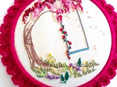 Woodland Tree Embroidered Hoop Art. Family Tree Embroidery