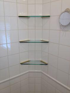 Custom shower shelves by www.glassworksvt.com