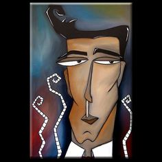 Art: Faces1160 2436 Original Abstract Art Painting Market Growth by Artist Thomas C. Fedro