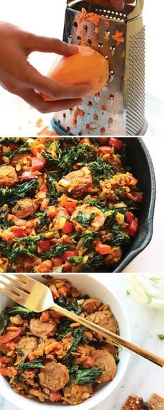 For breakfast, lunch, or dinner, this sweet potato hash protein bowl is packed with tons of veggies and protein. Start off by making a homemade sweet potato hash, then add in tons of other veggies and your favorite chicken sausage for a delicious protein Sweet Potato Kale, Sweet Potato Breakfast, Potato Hash, Breakfast Casserole, Breakfast Hash, Sweet Potato Protein, Clean Eating, Healthy Eating, Healthy Food