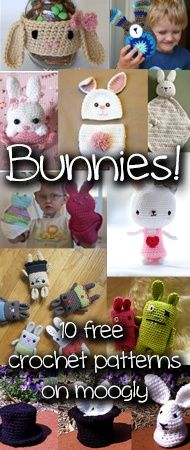 Crochet Bunnies - so cute! Free pattern roundup at Moogly!