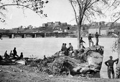 Union soldiers on the Mason's Island (Theodore Roosevelt Island) guarding the Potomac River in Washington, D. in Behind them is the Potomac Aqueduct Bridge and Georgetown University o… American Civil War, American History, Georgetown University, Owl, Potomac River, War Image, Civil War Photos, World History, Civilization