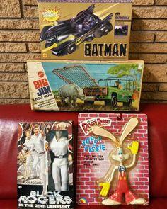 Future trivia question: What were the first four toys in the store? #piranhavintage #vintagethriftgift #piranhatoys #alwaysbuyingoldtoys #toysforsale #toysfortrade #toyhunter #toyshow #vintagetoys #toys #toyvendor #toydealer #nostalgia #actionfigures #toybiz #batman #mego #buckrogers #bigjim #mattel  #rogerrabbit #ljn #casaview #dallas #vintagestore by piranhavintage